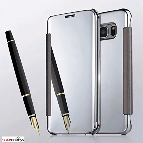 Sun Mobisys™; Samsung Galaxy Note 5 N920G Flip Cover; Clear View Flip Cover for Samsung Galaxy Note 5 N920G Silver Mirror