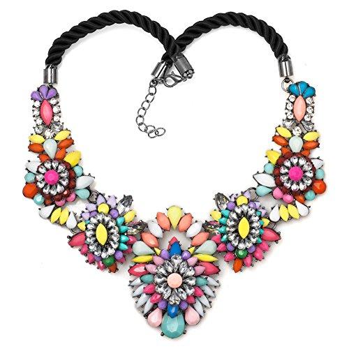 Isajewelry-Collana con motivo floreale, con strass, con colletto Muticolor Chunky-Jewelry