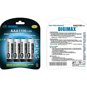 Digimax Rechargeable 1100 mAh AAA x 8 (TWO PACKS OF 4 BATTERIES)