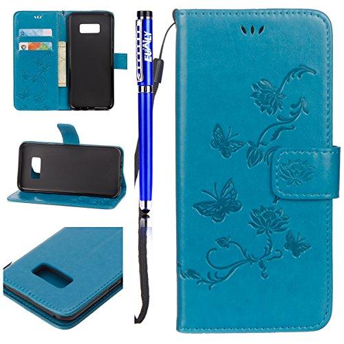 EUWLY für [Samsung Galaxy S6 Edge] Handytasche Leder Flip Tasche Case Vintage Lederhülle, Niedlich Elegante Schmetterling Blumen Leder Hülle Kreativ Muster Ledertasche Folio Klapphülle Handyhülle Bookstyle [Kartenfächer] [Standfunktion] [Brieftasche] Magnetverschluss Wallet Schutz Hüllen Tache für Samsung Galaxy S6 Edge + Blau Eingabestift-Schmetterling,Blau