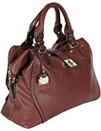 FOR-U Stylish Maroon Leather Office Handbag With Multiple Pockets And Detachable Shoulder Strap For Girls And...