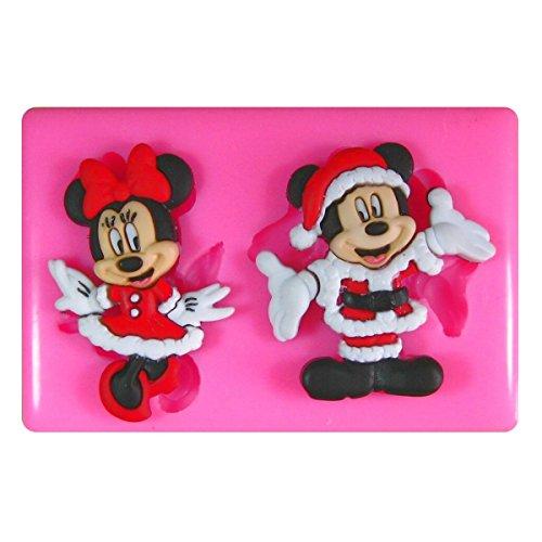 Weihnachten Mickey und Minnie Weihnachtsmann SilikonForm für Kuchen Dekorieren, Kuchen, kleiner Kuchen Toppers, Zuckerglasur, Fondantform, Sugarcraft Werkzeug durch Fairie Blessings (Mickey Push-pins)