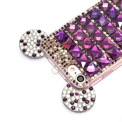 iPhone 6s Plus Hülle, iPhone 6 Plus Hülle, Vandot Schutzhülle iPhone 6s Plus / 6 Plus Case Handmade Diamant Bling Handyhülle TPU Silikon Weich Soft Transparent Zurück Cover Crystal Glitzer Glänzend Ha Diamant Lila