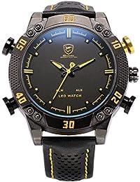 Shark Hombre Reloj de pulsera LED analógico digital cuarzo 5cm extragroß Esfera