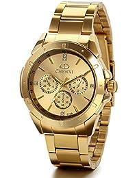 JewelryWe Reloj Dorado de Esfera Oro, Reloj de Caballero Cuarzo, 3 Subesferas de Decoración, Reloj de Hombre Acero Inoxidable, Todo Dorado Regalo de Navidad