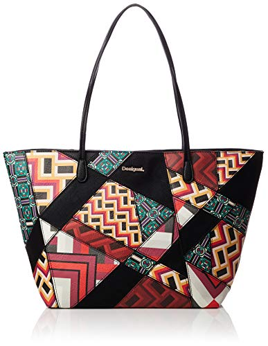 Desigual BORSA DONNA BOLS GRAPHIC ATLAS CAPRI ZIPPER 18WAXP16 unica nero