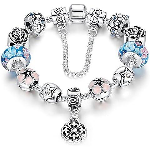 A TE® Charm Pulsera Flores Esmalte Perlas de Vidrio Cristal con Cadena de Sguridad Chapado Blanco Oro #JW-B107