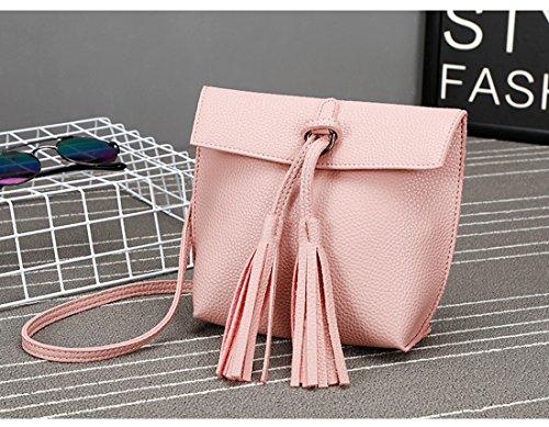 Frauen-Damen-Mädchen-Schulter-Beutel, Universal PU-lederne Mitteilungs-Beutel-Troddel-Damen-mini kleine Handtasche Rosa