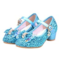 muium Kids Girls Low Heel Pearl Crystal Bling Bowknot Single Shoes Wedding Party Prom Dancing Ballroom Latin Shoes Sandals for 3-14 Year Old (26(Age 3.5-4 Years), Blue)