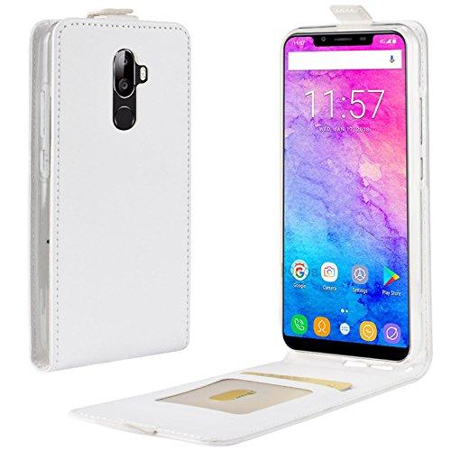 HualuBro Coque OUKITEL U18, Premium Étui en Cuir PU Leather Wallet Housse Flip Case Cover avec Cartes Slots pour Oukitel U18 Smartphone (Blanc)