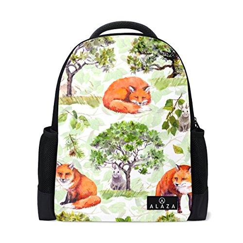 My Daily Fox lepre acquerello zaino 35,6cm laptop Daypack Bookbag per viaggi College scuola