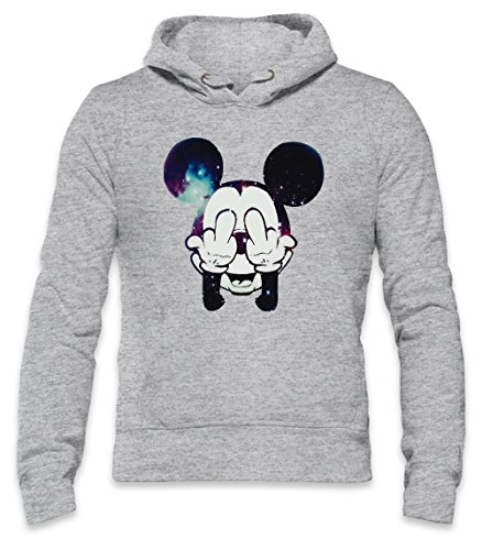 Mickey Mouse Fuck Off Mens Hoodie Large (Mickey Beanie Mouse)