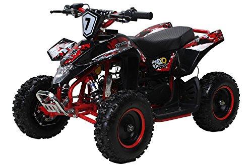 Actionbikes Motors Kinder Miniquad Fox XTR 49 cc - Scheibenbremsen - Luftbereifung - Drosselbar (Schwarz/Rot)