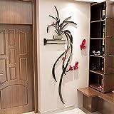 ZKZKW Adhesivos de Pared 3D Acrílico Orquídea Dormitorio Salón Sofá de Pared Adhesivos Impermeables autoadhesivos, versión Izquierda Hoja Negra Flor roja, XL