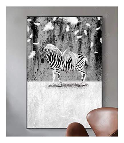ZSHSCL Lienzo Creativo Pintura Moderna Decoración De Pared Sala De Estar Imprimir Imagen Simple Animal Patrón De Cebra Decoración del Hogar Poster, 60X90 Cm