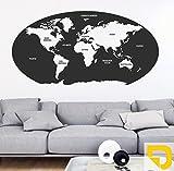 DESIGNSCAPE® Wandtattoo Unsere Welt | Weltkarte mit Kontinenten und Ozeane als Wanddekoration 210 x 106 cm (Breite x Höhe) gelb DW807348-L-F32