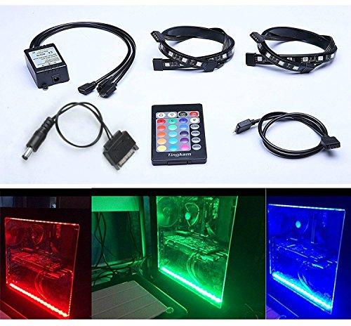 Tingkam Kit completo RGB 5050SMD 2pcs 18LEDs 30cm LED Tira de luz con mando a distancia de 24teclas para PC de sobremesa ordenador torre Midi de ordenador