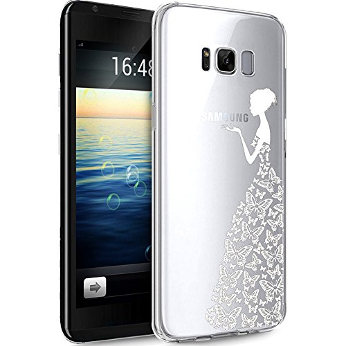 y S8 Hülle,Galaxy S8 Schutzhülle,Kirschblüte Blumen Cherry Blossom TPU Silikon Hülle Handyhülle Tasche Durchsichtig Schutzhülle für Galaxy S8,Weiße Schmetterlings Kleider Mädchen ()