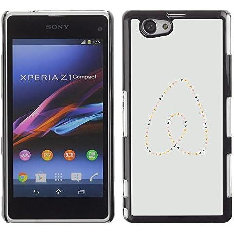 GooooStore/Dura Custodia Rigida della copertura della cassa - Heart Pearls Gold Blue Minimalist - Sony Xperia Z1 Compact D5503 - Blue Pearl Gt