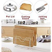 Estantería de almacenamiento para cocina, bandeja de cocina, soporte para maceta, tapa organizadora, cuchara, espátula de cocina, expositor Tamaño libre blanco