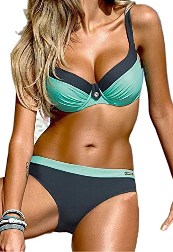CROSS1946 Damen Elegant Bademode Push Up Zweiteiler Swimsuits Badeanzug Bikini-Set Gruen-Blue Large