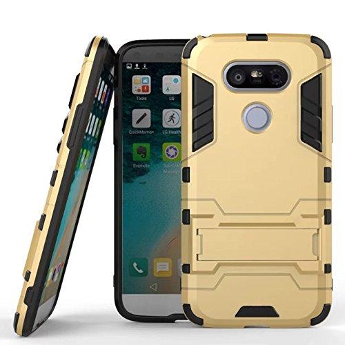 Wkae® iPhone 6 coque, 2 en 1 Nouveau Armour style robuste hybrides double couche Armure Defender PC Hard coques avec support [antichoc coque] pour iPhone 6 4.7 pouces par Diebell (Bleu-Noir) or