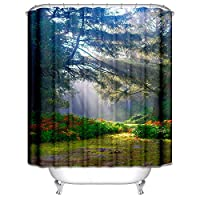 Bishilin Fabric Shower Curtain Waterproof Mildew Resistant Non Toxic, Morning Light In The Woods Colorful 120X180CM Polyester Shower Curtain