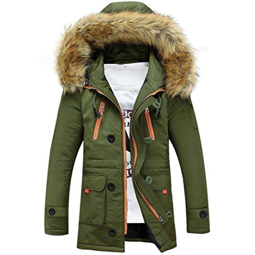 Mens Jacket Coat, DoraMe Unisex Faux Fur Wool Hooded Coat Warm Winter Long Jacket (M, Green)