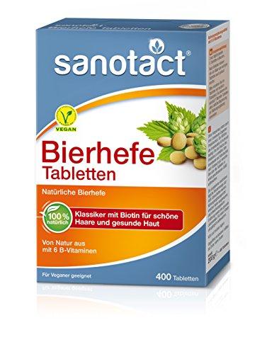 sanotact Bierhefe Tabletten - 400 Stk., Nahrungsergänzungsmittel mit 6 B-Vitaminen, vegan, 100% natürlich