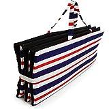 Ferocity Faltbare Strandmatte Liegematte mit Tragegriff Schaumstaff Strapazierfähig Decke Modell 11 Weiße und Dunkelblaue Rote Streifen [061]