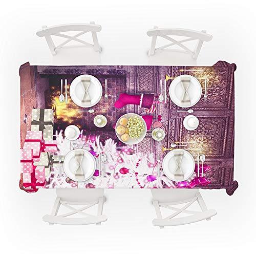 SJZC Tischdecke Polyester Digitaldruck Rechteck Wasserdicht FüR Weihnachtsdekoration,150 * 260cm