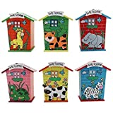 Rainbow impex Wooden Animal House Design Piggy Bank Coin Box Money Bank for Kids (Multicolour) - Pack of 6