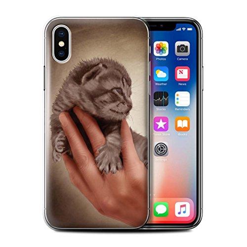 Officiel Elena Dudina Coque / Etui pour Apple iPhone X/10 / Le Voyageur/Manchot Design / Les Animaux Collection Minou/Voir