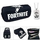 Fortnite Federmäppchen, große Kapazität Schreibwaren Bleistift Tasche Tasche Canvas Cosmetic Organizer mit zwei großen Taschen für Jungen, Mädchen, Teens, Erwachsene (3)