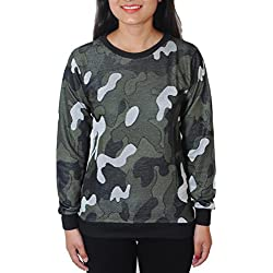 Trinity Women Green Army Camoflage Round Neck Cotton T-shirt XL
