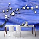 Carta da parati 3D per pareti Carte da parati non tessute blu vintage di lusso Plum Blossom murale Soggiorno Carta da parati decorativa TV Art Wall @ 200 * 140cm