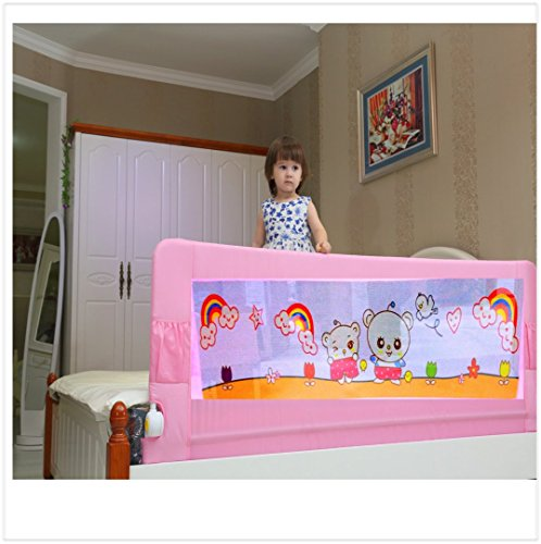 Kiddale Bedrail Long Foldable Safety Guard To Protect Baby, Kids & Senior Citizen From Side Falling -Pink