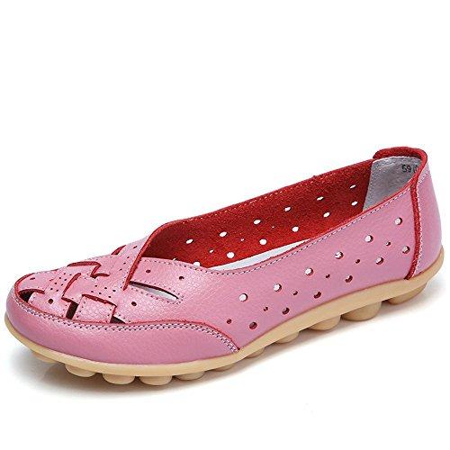 Gaatpot Damen Leder Schuhe Mokassin Bootsschuhe Leicht Loafers Flache Fahren Slippers Sommer Schuhe Frauen -