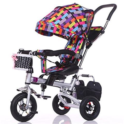Enfant à l'intérieur de l'extérieur Petit vélo de bicyclette Vélo de fille à vélo pour 8 mois - 6 ans Bébé Trois roues Chariot à auvent, roue gonflable / siège tournant / amorti / pliable, coloré