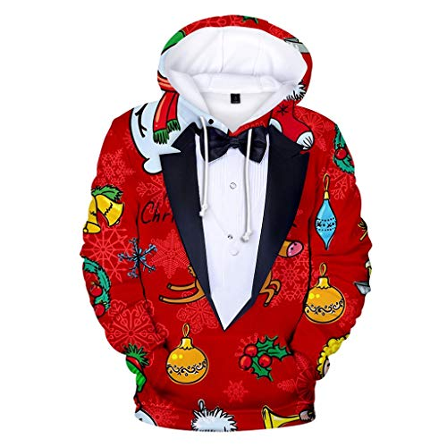 TOPSELD Herbst-Frühlings-Mode 3D Christmas Langarm Hoodies Tops Sweatershirt -