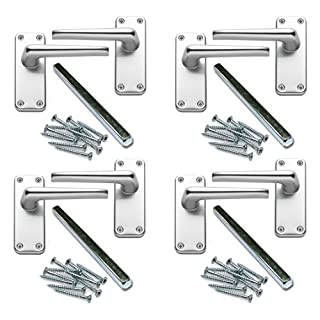 XFORT ZCA22SA 4 Pairs of Classic Victorian Straight Lever Latch Door Handles Aluminium Finish Perfect for Adding a Subtle Traditional Touch to Your Home