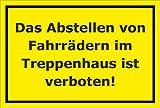 Aufkleber – Fahrräder im Treppenhaus verboten - 30x20cm – S00050-051-C +++ in 20 Varianten erhältlich