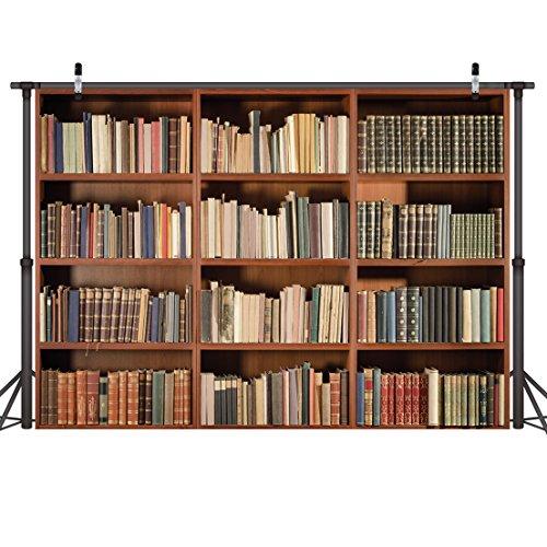 LYWYGG 7X5FT Bücherregal Hintergrund Vintage - Bücherregal Magie Bücher Grunge - Alten Bibliothek Vinyl - Fotografie Hintergrund Photo Studio Requisiten CP-49