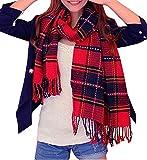 Mujeres caliente Mantas Cozy Pashmina bufanda larga tartán enrejado mantón (negro rojo)
