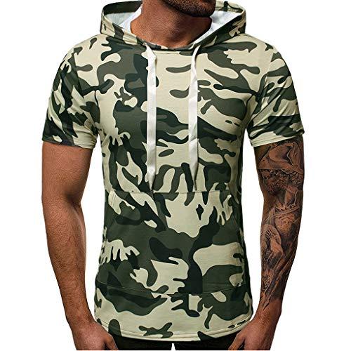 DEELIN Herren Sommer Casual Camouflage Print mit Kapuze ärmellose T-Shirt Top Weste ()