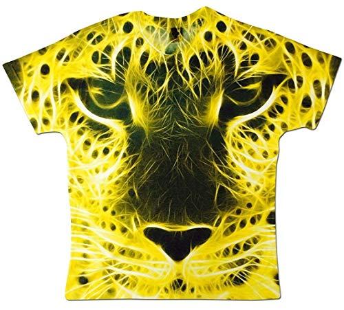 Herren All Over Print Abstract Gelb Leopard Gesicht Sublimation Druck Urlaub Festival T-Shirt Weiß M -
