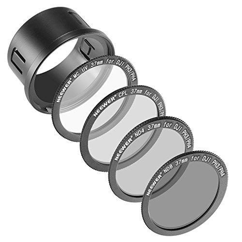 Neewer® para DJI Phantom 3Profesional Avanzada, y estándar 37mm Kit de filtro: filtro UV + Filtro polarizador + filtro de densidad neutra ND4+ ND8filtro + fijación anillo adaptador + bolsa de filtro