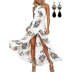 MODETREND Mujer Vestido Largo de Sin Mangas Escotado por Detrás Maxi Vestidos Playa Playero Vacaciones y Coctel Partido Blanco S
