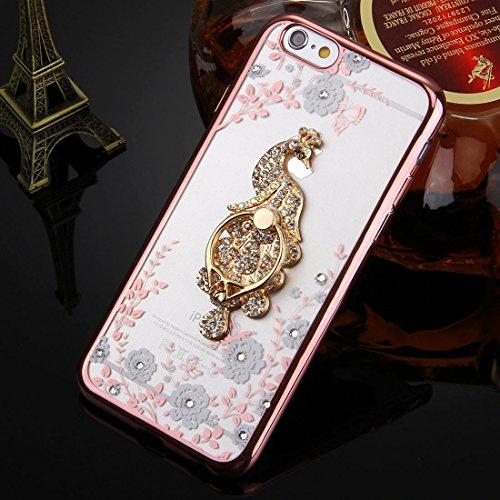Phone case & Hülle Für iPhone 6 / 6s, White Flowers & Peacock Pattern Diamond Electroplated TPU Schutzhülle mit Halter ( SKU : IP6G0168K ) IP6G0168A