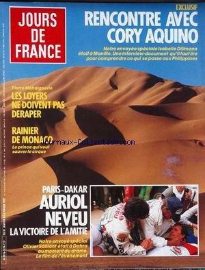 JOURS DE FRANCE [No 1674] du 31/01/1987 - RENCONTRE AVEC CORY AQIUNO - ISABELLE DILLMANN - LES LOYERS NE DOIVENT PAS DERAPER - RAINIER DE MONACO - PARIS - DAKAR - AURIOL - NEVEU - OLIVIER SAILLANT.